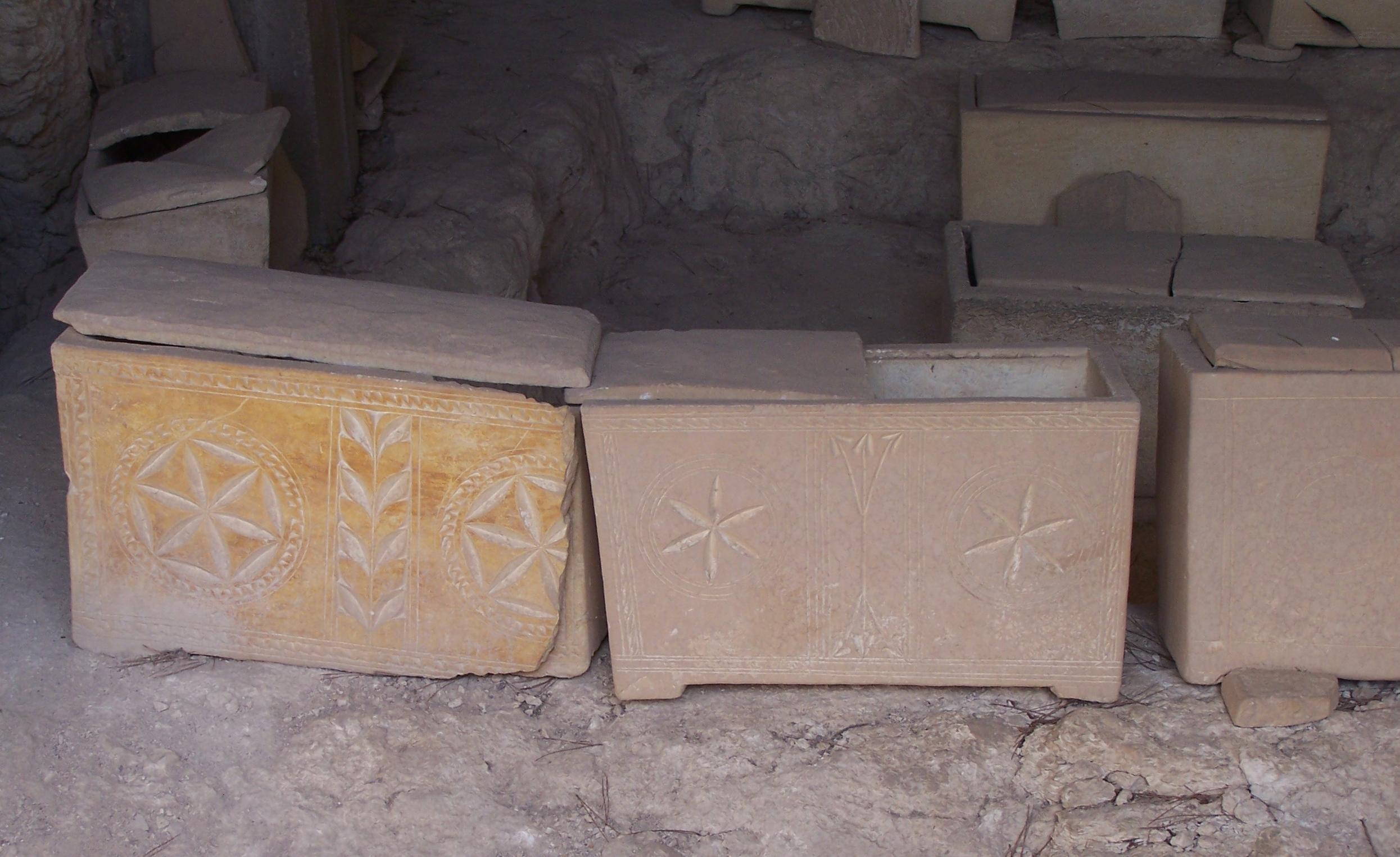 Stone ossuaries (burial boxes for bones) near the Dominus Flevit church on the Mount of Olives. Photo courtesy of Joshua N. Tilton.